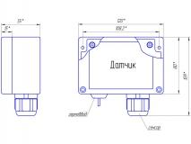 Габаритный чертеж выносного датчика спирта, исполнение IP65